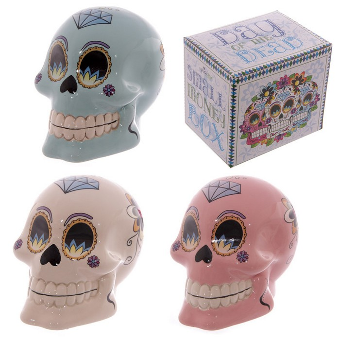 Day of the Dead Skull Money Box 10cm